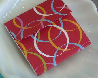 Mini Matchbook note pad 2x2 25 sheets no staple: red circles