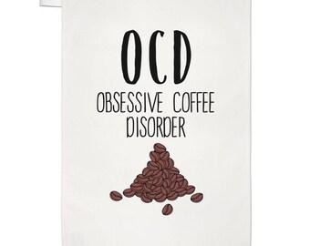 Coffee OCD Tea Towel Dish Cloth