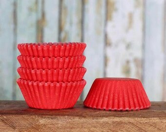 MINI Red Cupcake Liners, Red Candy Cups, Mini Red Treat Cups, Red Cake Pop Cups, Mini Cupcake Cases, Christmas, Valentines (100)