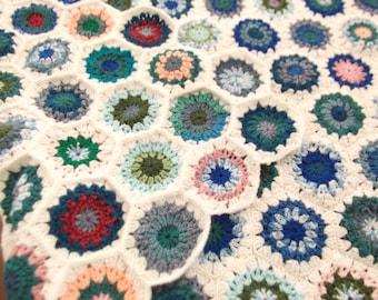 crocheted granny blanket throw - bedroom accessories - crochet hexagon blanket - granny hexagon - crochet throw - hexagon crochet blanket