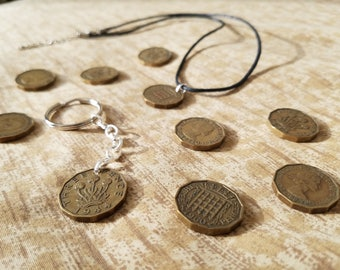 British Threepence Jewelry - Threepenny Bit - Necklaces, Keychains, Chokers and more!