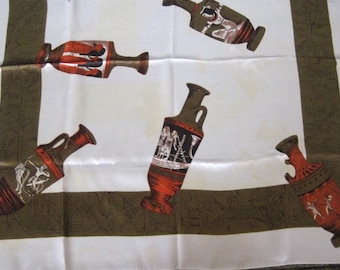 White Egyptian Scarf with Urns and Hierglyphics Border in Cream Brown and Orange