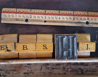 Wood Print Block, 1 Large Letter B, S, J, Vintage Rubber Stamps, Alphabet Stamps, 1.5 Inches Tall