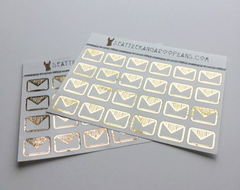 Gold Foil Happy Mail Icon Stickers (24 Glossy Planner Stickers) || SeattleKangarooPlans