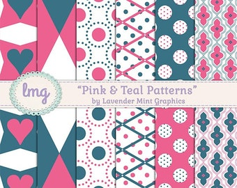 Pink and Teal Digital Paper, Scrapbooking Paper, Digital Scrapbook, Pink Digital Paper, Teal Digital Paper, Instant Download, Commercial Use