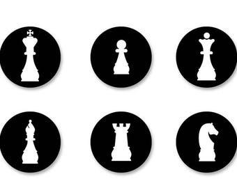 Lot Pins Ø25mm - o38mm Pinback Button Badge / Magnet o38mm chess Chess Game