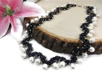 Something Blue Wedding Necklace - Beaded Freshwater Pearl Bridal Necklace - Beaded Blue Bridal Necklace - Beadwoven Necklace