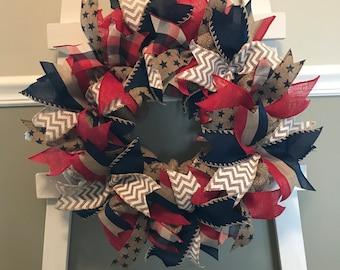 Every Day Wreath, Front Door Wreath, Flag Wreath, Memorial Day Wreath, Fourth of July Wreath, Burlap Wreath, Stars and Stripes Wreath