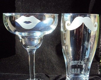 His and Hers Mustache and Lips Pilsner and Margarita Set by Jackglass on Etsy