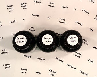 Essential Oil Lid Cap Labels, 154 Round Labels, Single Oil, Bonus Blends, Customize Font