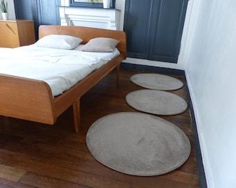 Round linen - wood carpet wool rug