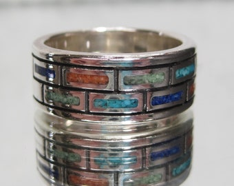 Vintage Sterling Silver Mosaic Gemstone Band Ring Sz 7.75 M557