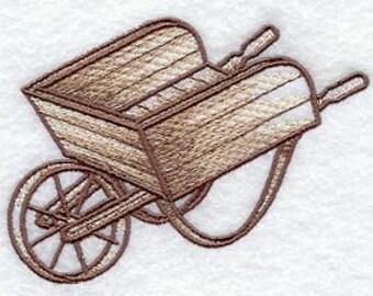 Rustic  Wheelbarrow Embroidered Hand Towel -  wheelbarrow bathroom guest towel