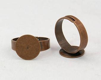 Ring Blanks Blank Rings Adjustable Rings Antiqued Copper Rings Bulk Rings Wholesale Rings 10 pieces