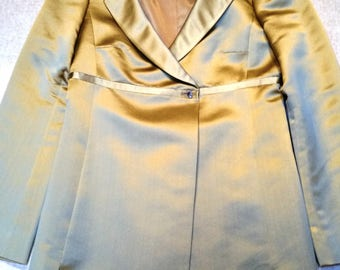 4-PC 100% Silk Suit in Vintage Yellow Gold with Empire Waist  SIZE 6