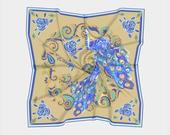 Peacock Scarf 2, Peacock collection,Square, 100% silk, pure, gold and blue
