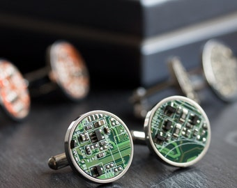 Unique  cufflinks, Circuit board Cufflinks, stainless steel, cufflinks for computer geeks, gift for him, gift for husband, gift for men