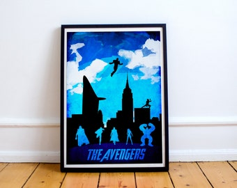 Avengers Poster - Wall Art - Minimalist Art Print - Marvel - Iron Man - Thor - Hulk - Captain America (Available in Many Sizes)