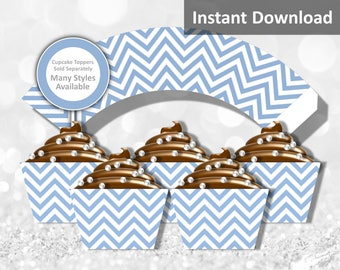 Baby Blue Chevron Cupcake Wrapper Instant Download, Party Decorations