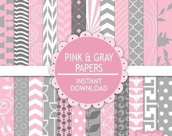 Pink and Gray Digital Scrapbooking Printable Paper Pack Instant Download