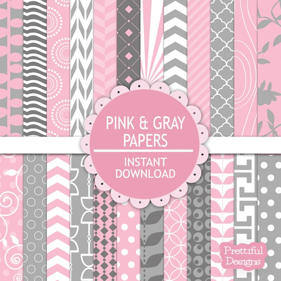 Pink And Gray Digital Scrapbooking Printable Paper Pack