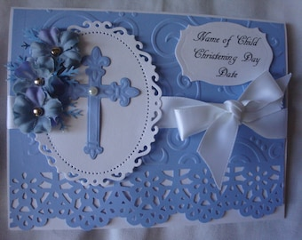 Christening Card, Baptism Card, Baby Boy, Religious Event, Blue and White, 3 Dimensional, Greeting Card, Handmade