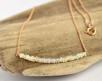 Genuine Opal necklace, Ethiopian opal Pendant, Welo opal Jewelry, October Birthstone Necklace: 14K Gold Filled, Rose Gold, Sterling Silver