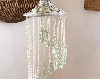 Vintage mint seashell chandelier / shell windchime / vintage boho hanging shells