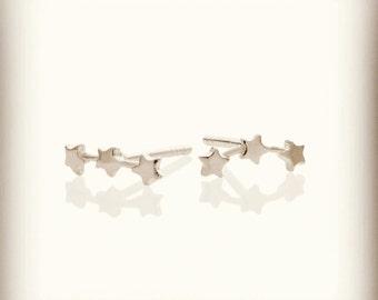Triple Star Stud Earrings - 3 Stars Stud Earrings - 925 Sterling Silver Star Studs - Gift Idea