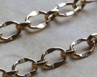 Gold Filled Chain by the Foot - Large Hammered Long and Short Chain 5.5mm x 7.5mm - Select Lengths to 3 Feet