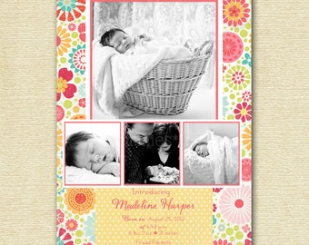 Baby Girl Birth Announcement, Floral Birth Announcement, 4 Photo Baby Announcement, Birth Announcement , Photo Announcement, Colorful
