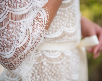 Ivory Cotton Lace Robe for Bride, A must-have for every bride to be