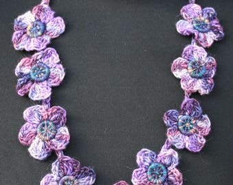 Crochet Violet Flowers Necklace pattern with Dorset buttons