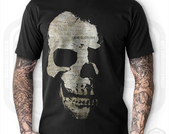 Skull and Faded Scripts T-Shirt Mens Black |  Biker Rocker Goth Tattoo Motorcycle Bike Workshop Shirt