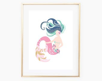 Mermaid Digital Print, Mermaid Decor, Mermaid Wall Art, Mermaid Art, Wall Print, Mermaid Nursery, Mermaid Art, Mermaid Digital Art