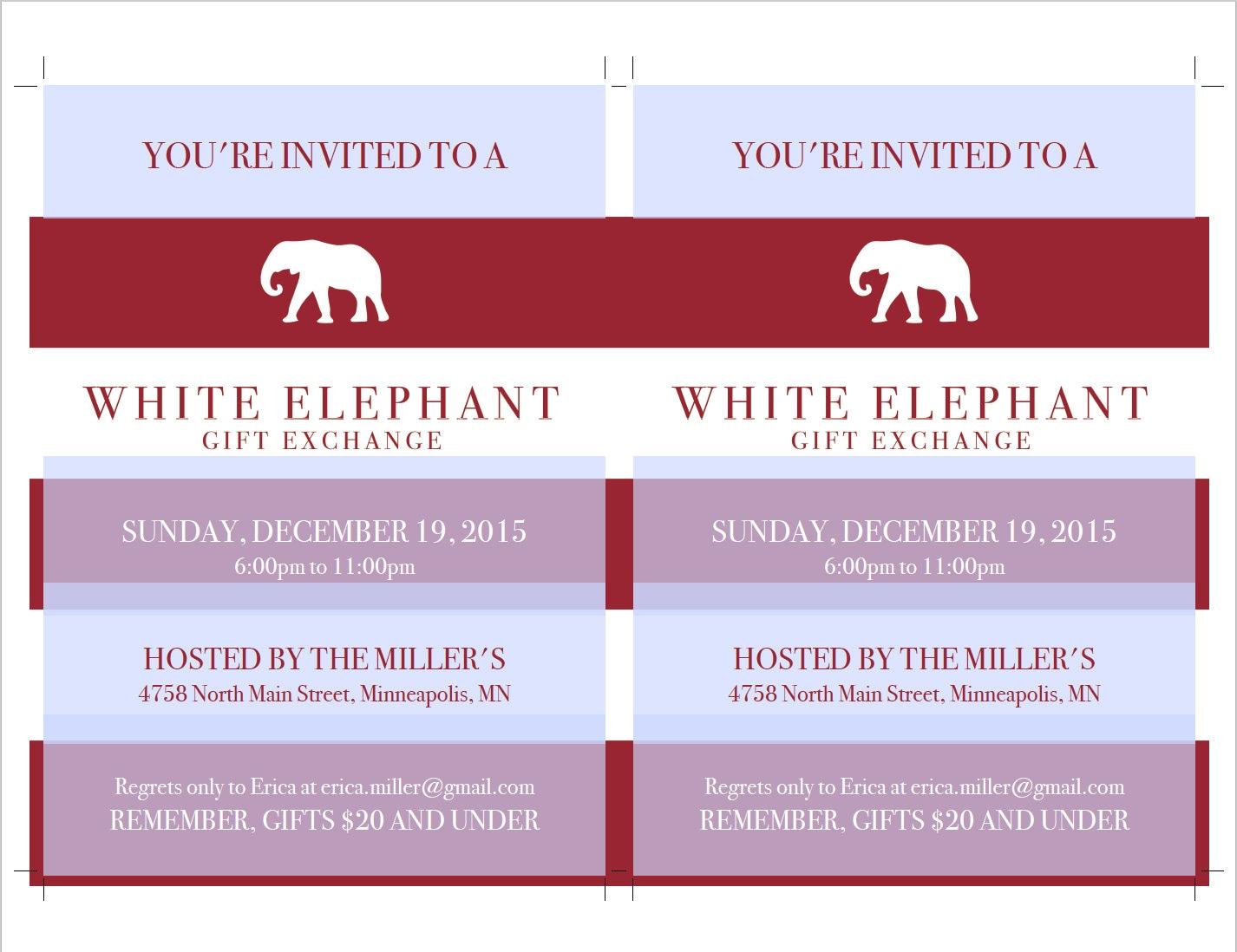 White Elephant Invitation Template DIY Printable White Elephant