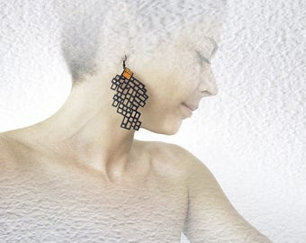 Earrings, modern, contemporary jewelry design, FREE Shipping, unique, original, handmade, polymer clay, lasercut wood, black steel hooks