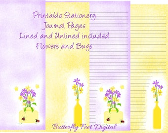 Printable Stationery, Art Journal Pages, Lined and Unlined Paper, Flowers and Bugs, Purple and Yellow, Instant Download