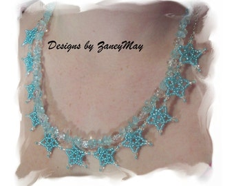Stars and Chips Necklace Pattern, Beading Tutorial in PDF