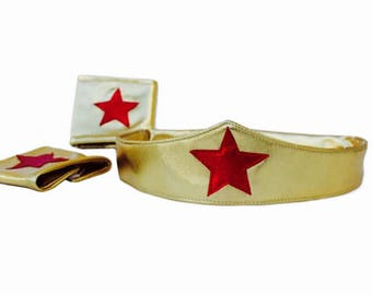 Wonder Woman Costume Head Band and Arm Bands Cuffs