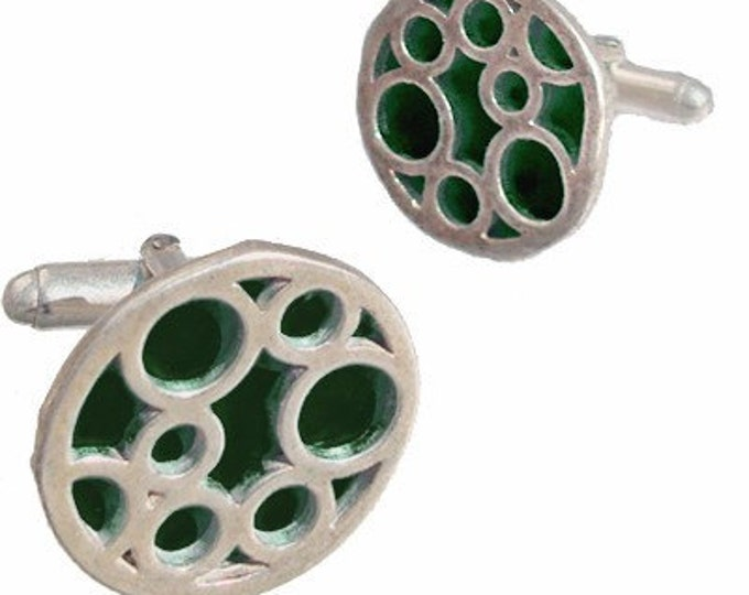 Round sterling silver Black bubble cufflinks Father's Day gift