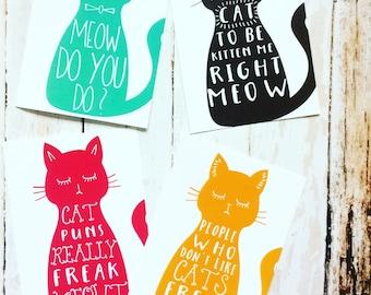 Cat Postcard Set, Cute Funny Cat Pun Postcards Set of 4