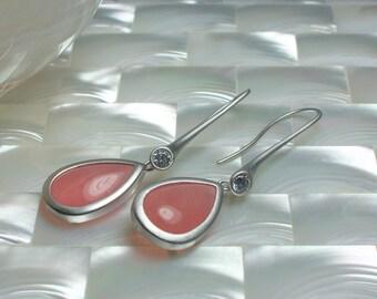 Jade Dangle Earrings, Modern Jewelry, Drop Earrings, Tear drop Earrings, Long Earrings, Cubic Zirconia Earrings in Matte Rhodium and Pink