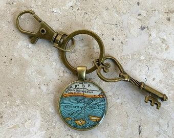 Santa Barbara Keychain Bronze with Ring Swivel Clasp and Key  California Vintage Map