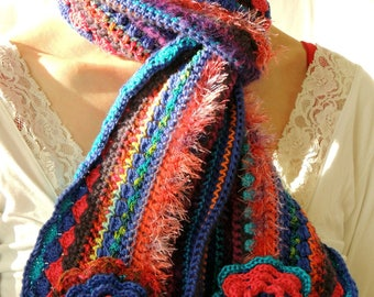 Crochet scarf, wool, mainly blue and orange