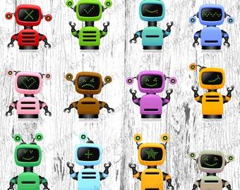 12 Robots clipart, Kids Robots clipart, Robot clipart, rainbow Robots clipart,funny Robots clipart,digital alien,digital Robots,scrapbooking