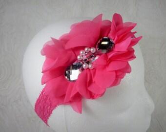 Fuchsia Headband, Baby Girl Headband, Baby Flower Headband, Newborn Headband, Baby Girl, Little Girl Headband, Pink Flower Headband, Chiffon
