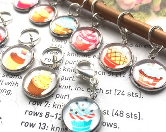 10 Knitting stitch marker rings Call me cupcake cabochon