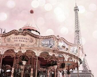 Paris Blush Pink Eiffel Tower Carousel Print, Paris Photography, Baby Girl Nursery Decor, Paris Blush Eiffel Tower Carousel Wall Art Prints