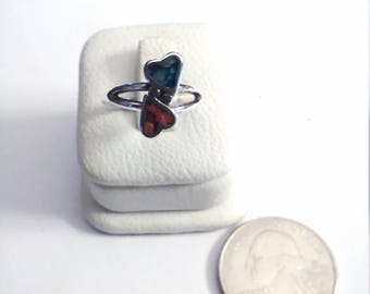 Vintage Sterling Silver Turquoise/ Coral  Inlaid 2 Heart Ring, Size 4 3/4